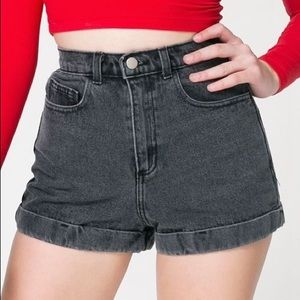 AA stone washed black high waisted cuffed shorts